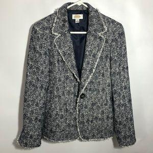 Talbots blue/white tweed fringe blazer Sz 12